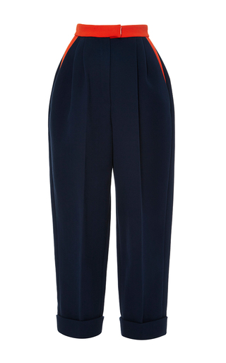 Medium delpozo navy insignia blue cropped cotton trousers