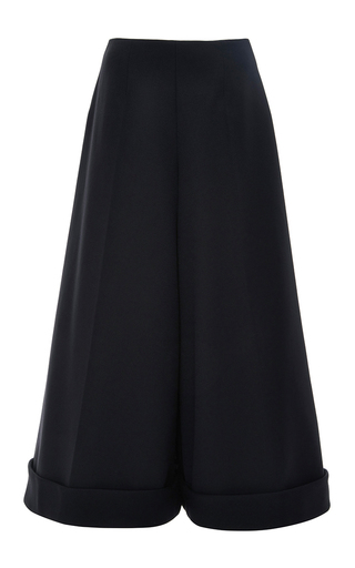 Medium delpozo navy cuffed tulle culottes