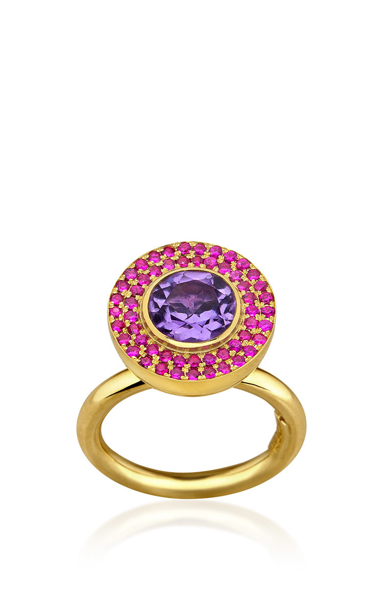 ELENA VOTSI Cyclos Ring With Rubies And Amethyst in Pink
