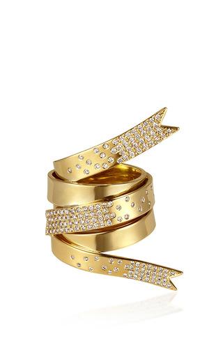 Medium elena votsi gold line ribbon ring with white diamonds