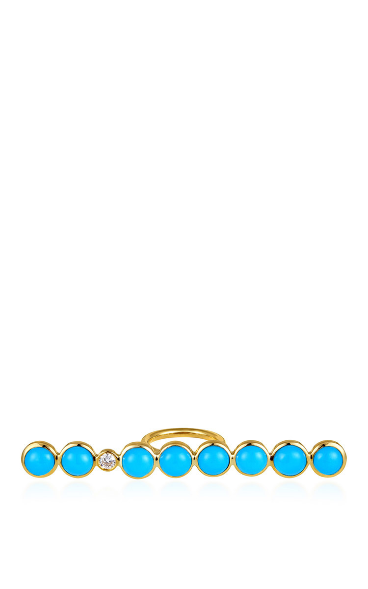 ELENA VOTSI Line Ring With Turquoise in Light Blue