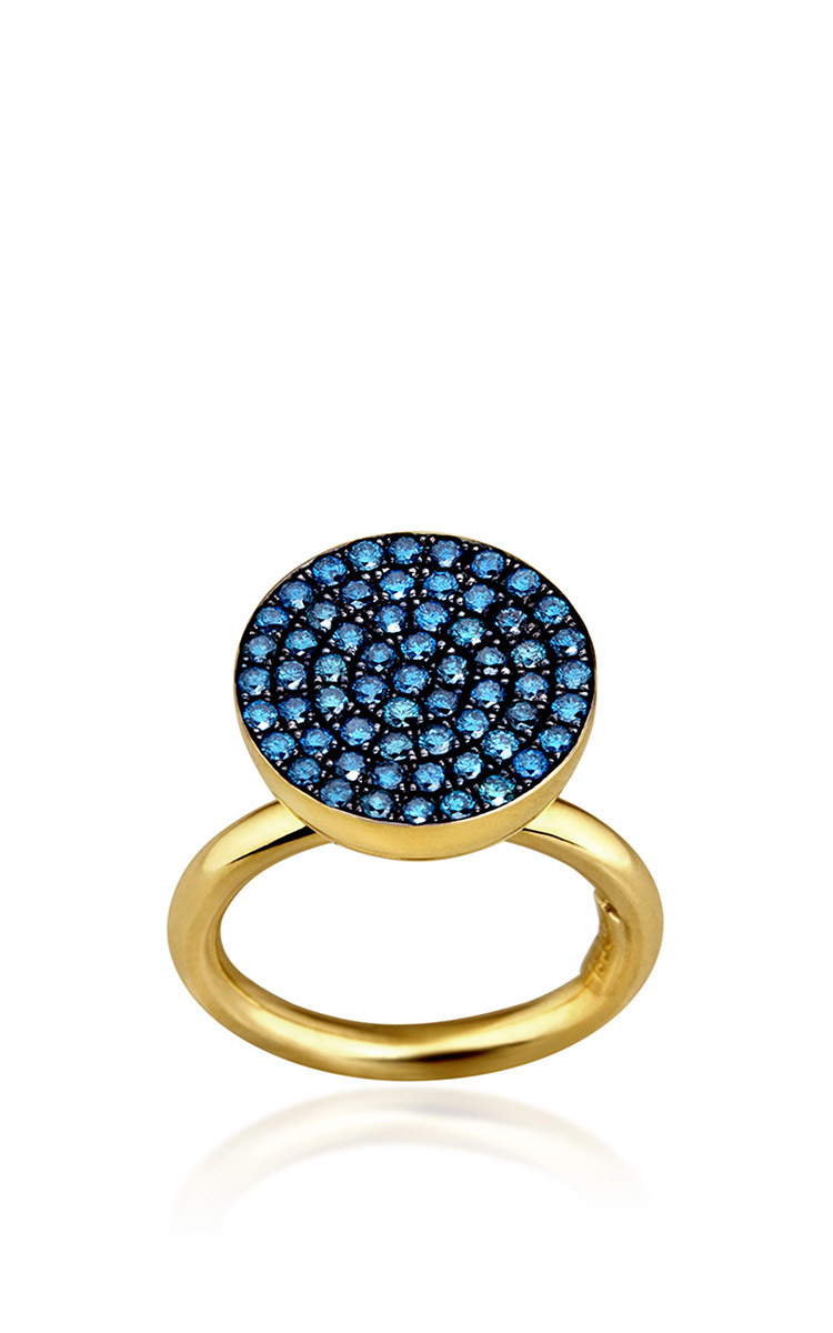 ELENA VOTSI Cyclos Ring With Blue Diamonds