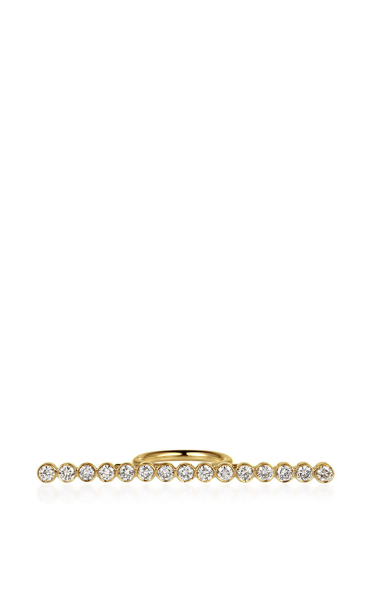 ELENA VOTSI Line Ring With Diamonds in Gold