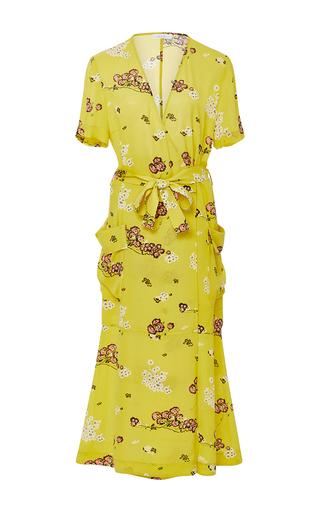 Medium a l c yellow stephanie silk printed dress