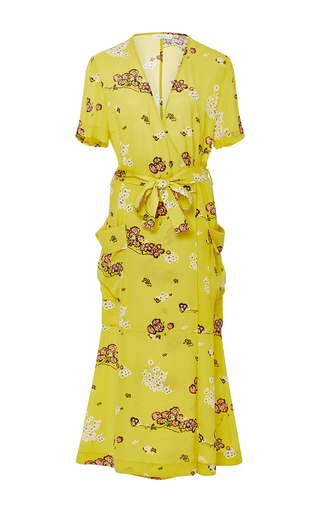 Medium a l c yellow stephanie silk printed dress