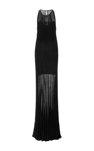 Medium roberto cavalli black macrame gown