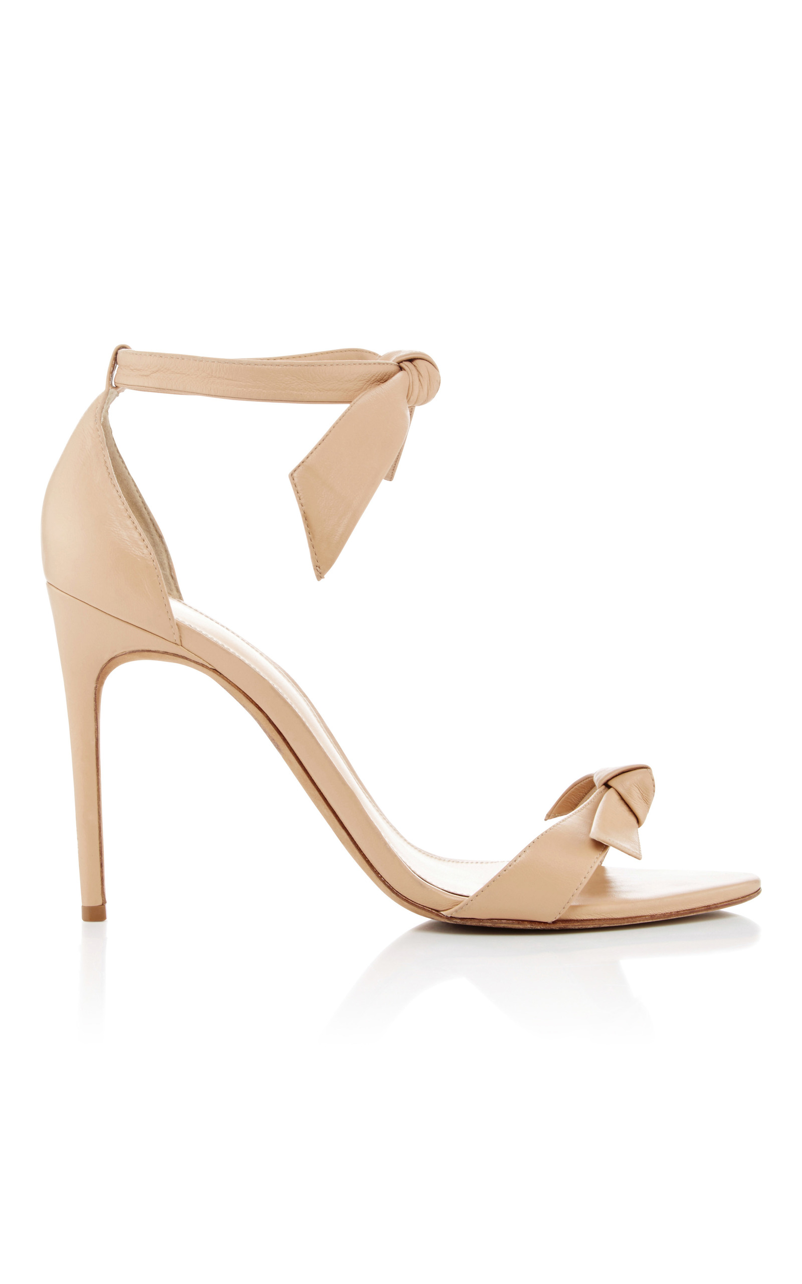 ALEXANDRE BIRMAN Clarita Bow-Embellished Leather Sandals, Nude