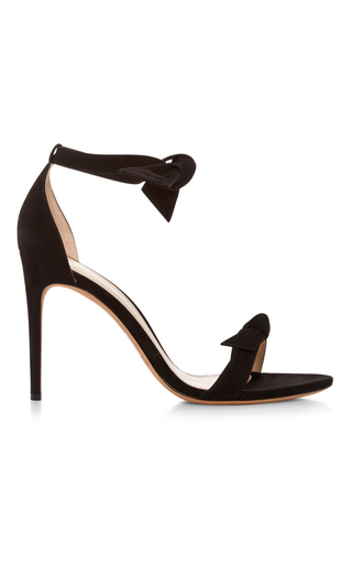 Medium alexandre birman black clarita suede tie front sandals