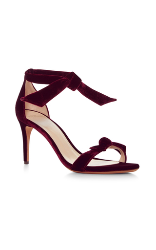 Medium alexandre birman burgundy clarita velvet tie front sandals