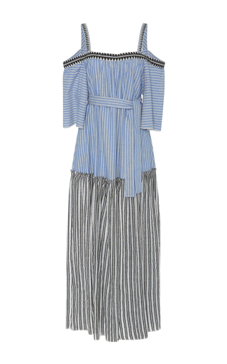 Medium lemlem blue amara off the shoulder maxi dress