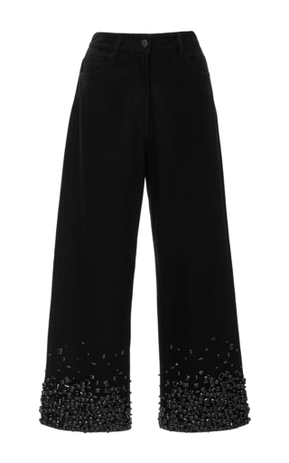 Medium tibi black cropped crystal embellished jeans