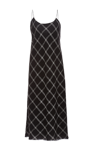 Medium tibi black bias knit slip dress