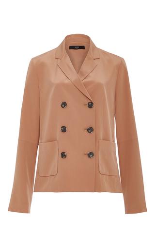 Medium tibi brown silk double breasted blazer