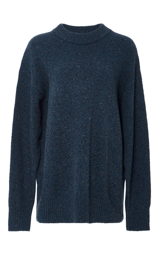 Medium tibi navy melange wool sweater