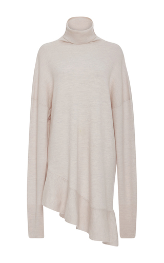 Medium tibi neutral ruffle hem turtleneck