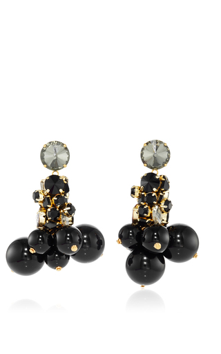 Medium marni black strass drop earring 2