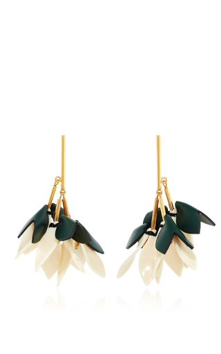 Medium marni green leather drop earrings