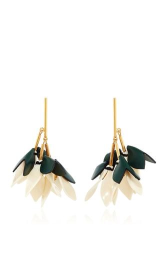 Medium marni green leather drop earrings