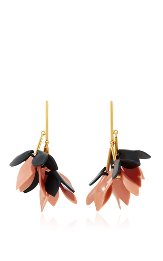 Medium marni pink leather and brass earrings