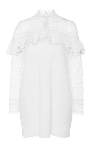 Medium self portrait white long sleeve mini dress