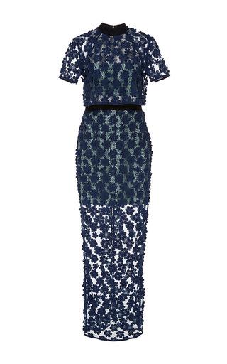 Medium self portrait navy short sleeve maxi dress