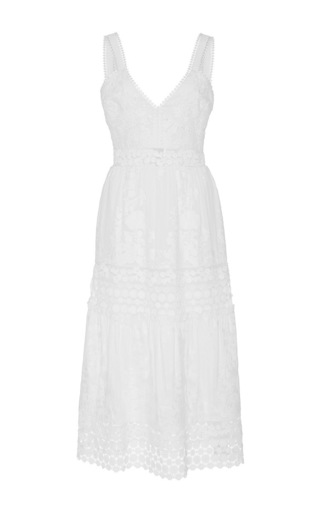 Medium self portrait white sleeveless midi dress
