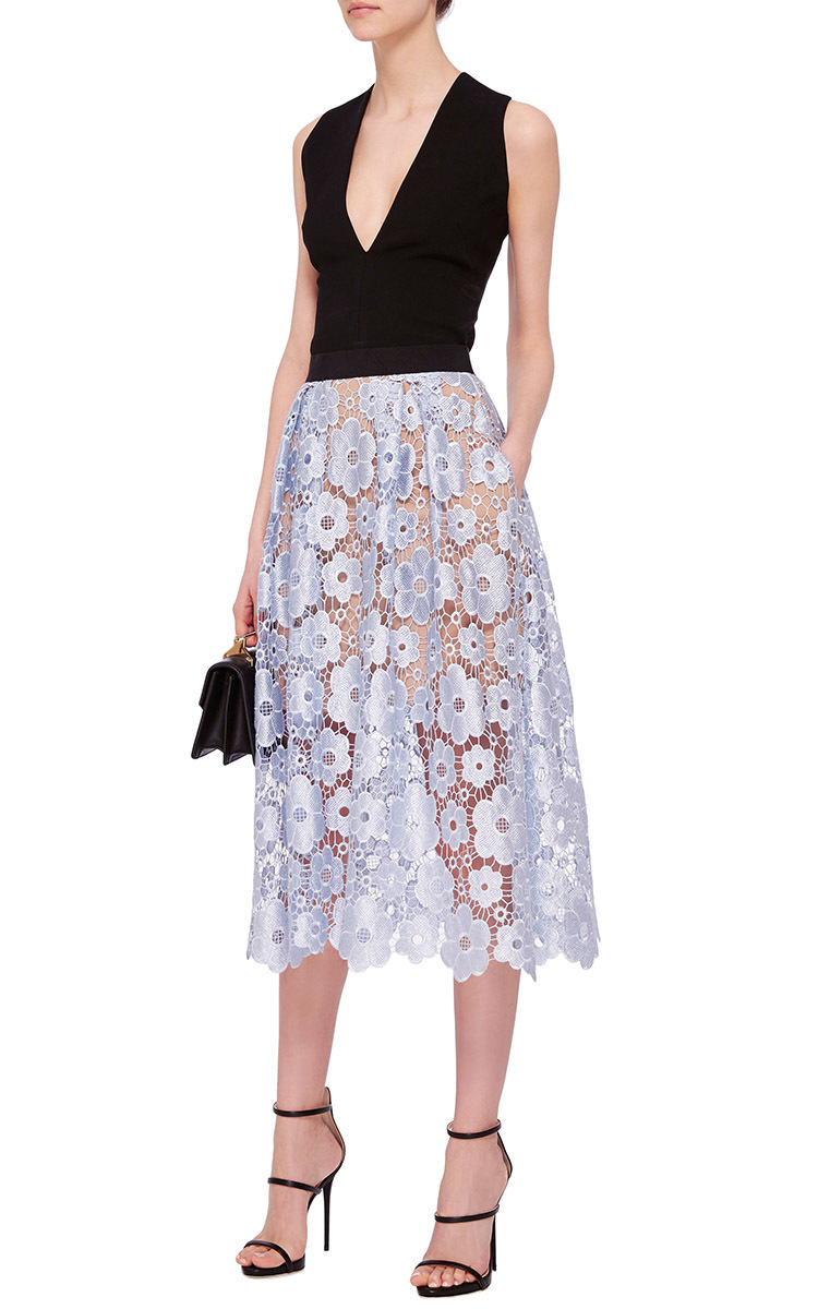 7ab7ac785d629 Floral Lace Midi Skirt by Self Portrait | Moda Operandi
