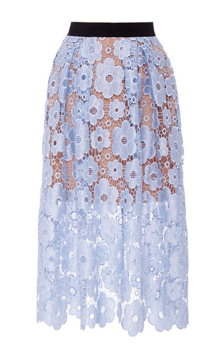 Medium self portrait light blue floral lace midi skirt