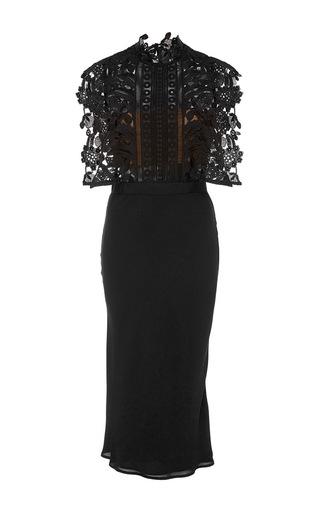Medium self portrait black lace cape midi dress