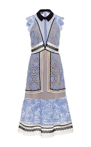 Medium self portrait blue floral lace midi dress