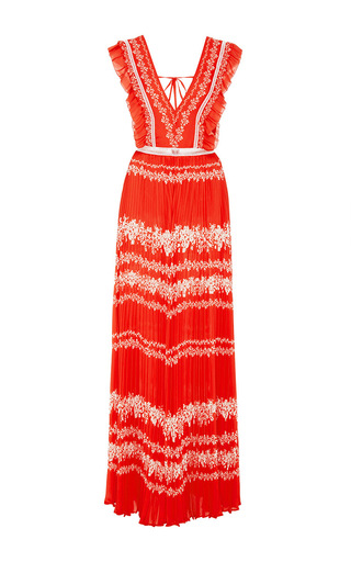 Medium self portrait red ruffle sleeve maxi dress