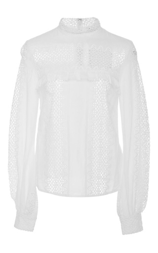 Medium self portrait white long sleeve lace blouse