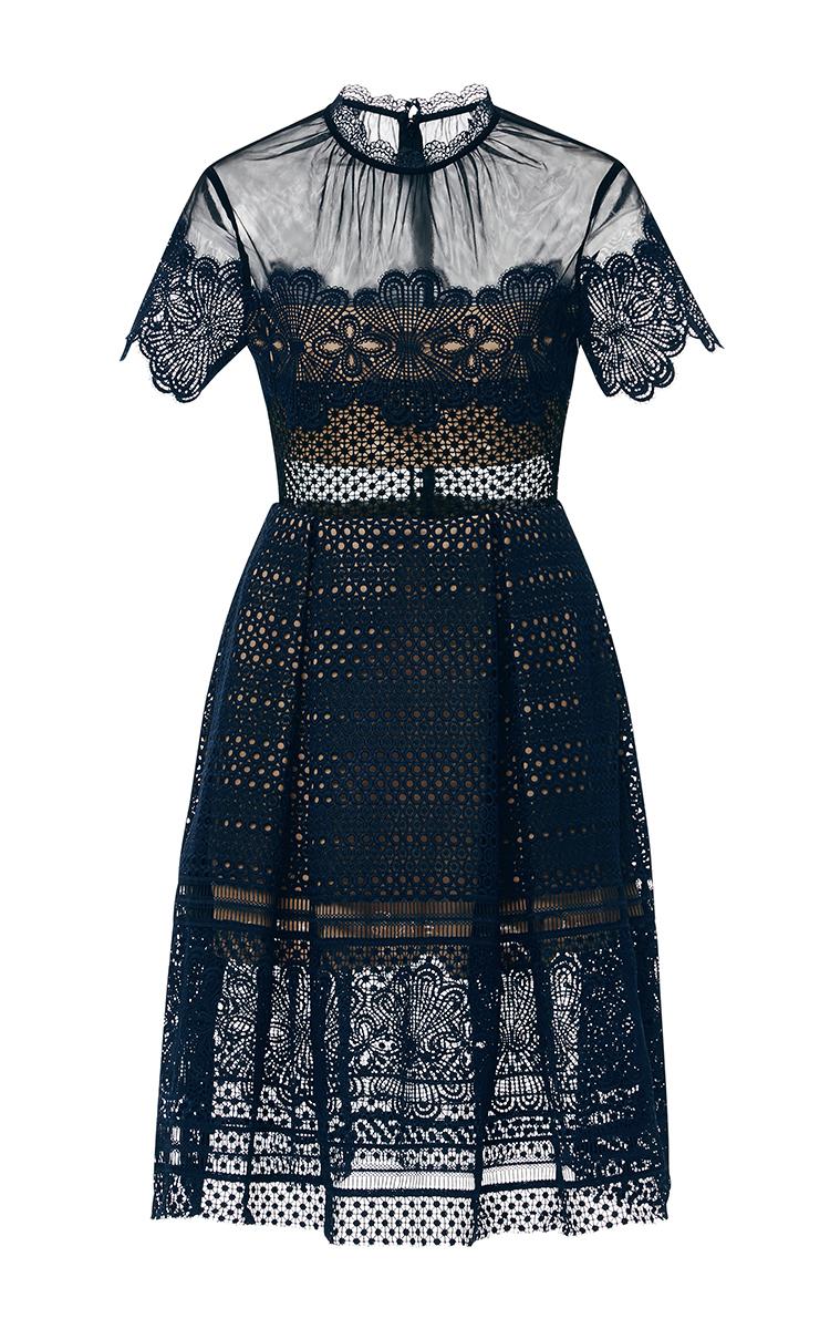 f9aa35ae8322 Felicia Embroidered Sheer Lace Dress by Self Portrait | Moda Operandi