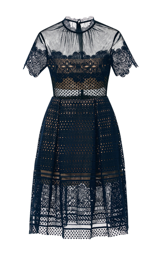 Medium self portrait navy felicia embroidered sheer lace dress  2