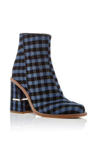 Medium tibi navy nora gingham ankle boots