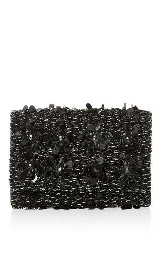 Medium oscar de la renta black embroidered petite evening clutch