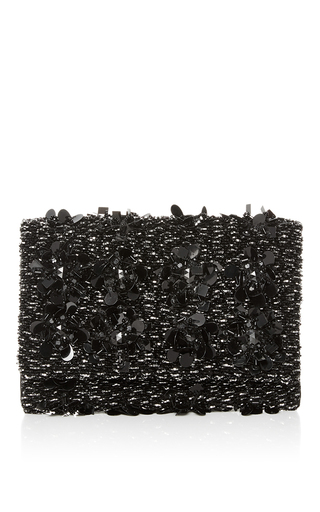 Medium oscar de la renta black embroidered petite evening clutch