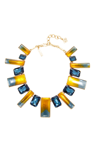Medium oscar de la renta navy two tone resin necklace  2