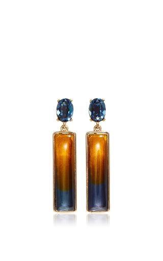 Medium oscar de la renta navy two tone resin earrings