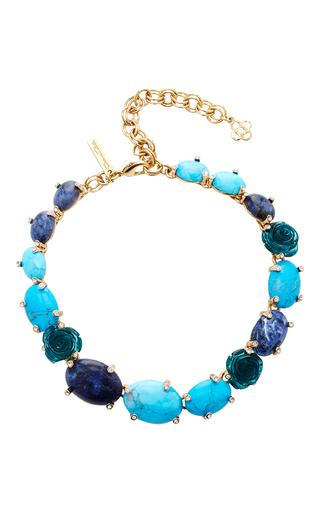 Medium oscar de la renta blue semi precious and resin rose necklace