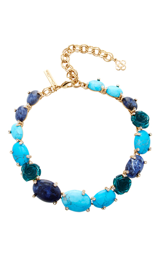 Medium oscar de la renta blue semi precious and resin rose necklace