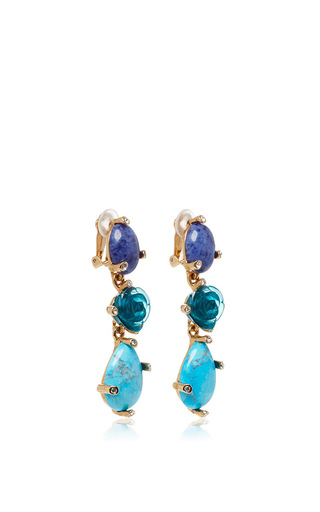 Semi Precious Stones And Rose Earrings by OSCAR DE LA RENTA Now Available on Moda Operandi