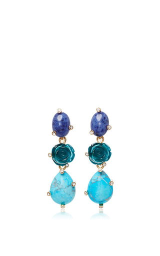 Medium oscar de la renta blue semi precious stones and rose earrings