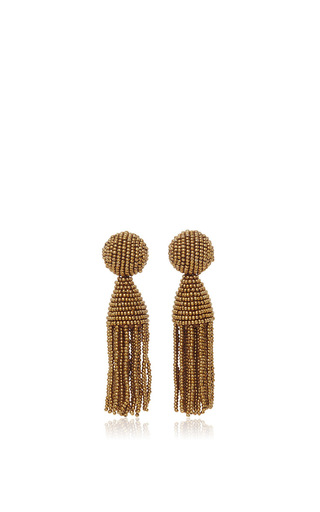 Medium oscar de la renta gold short beaded tassel earrings