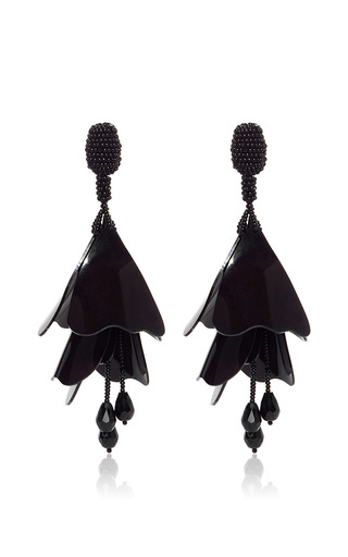 Medium oscar de la renta black impatiens flower drop earrings  2
