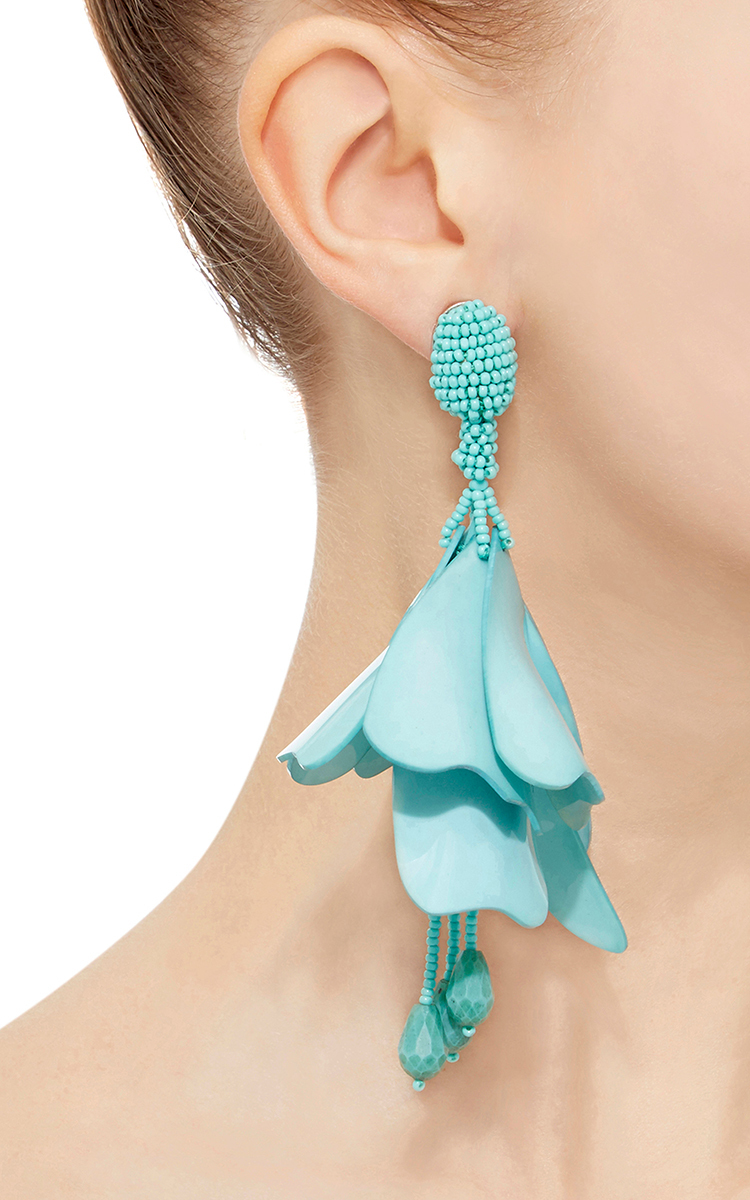 Oscar De La Renta Impatiens Flower Drop Earrings r85ePAput