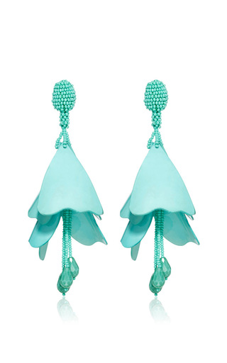 Medium oscar de la renta blue impatiens flower drop earrings  3