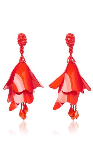 Medium oscar de la renta red impatiens flower drop earrings  4