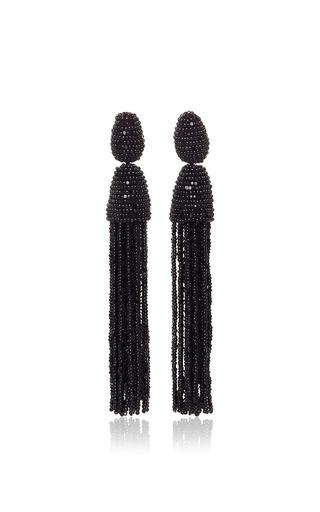 Medium oscar de la renta black long beaded tassel earrings  2
