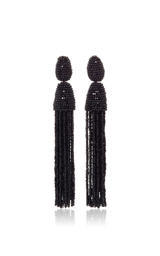 Medium oscar de la renta black long beaded tassel earrings  2